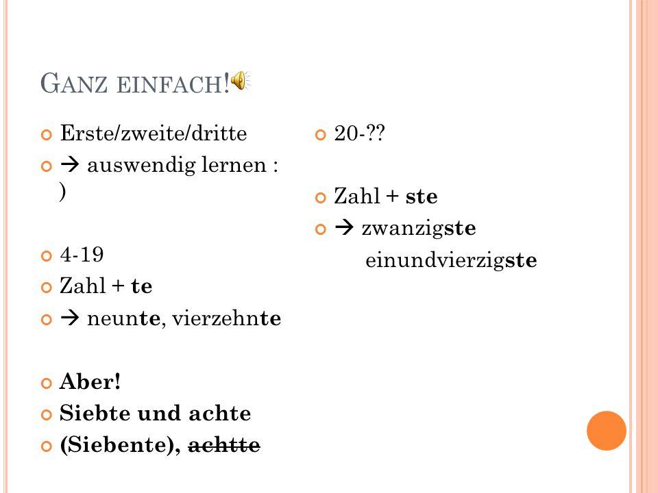 G ANZ EINFACH .
