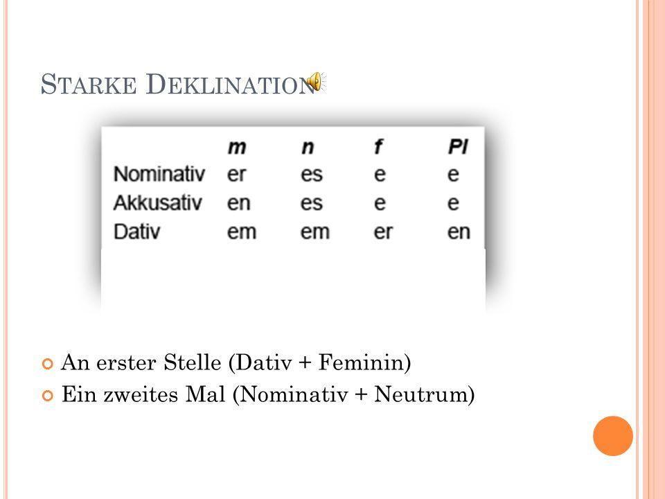 S CHWACHE D EKLINATION An dem erst en Tag (Dativ + Maskulin) An der dritt en Stelle (Dativ + Feminin) Heute haben wir den elft en März (Akkusativ + Ma
