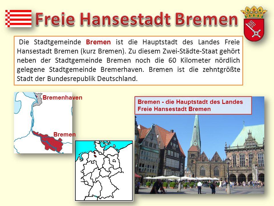  Bremen liegt zu beiden Seiten der Weser, etwa 60 Kilometer vor deren Mündung in die Nordsee  das Stadtgebiet ist etwa 38 Kilometer lang und 16 Kilometer breit  die Stadt Bremen (548.319 Einwohner) ist ganz von niedersächsischem Staatsgebiet umschlossen  das Stadtgebiet Bremens ist in fünf Stadtbezirke eingeteilt