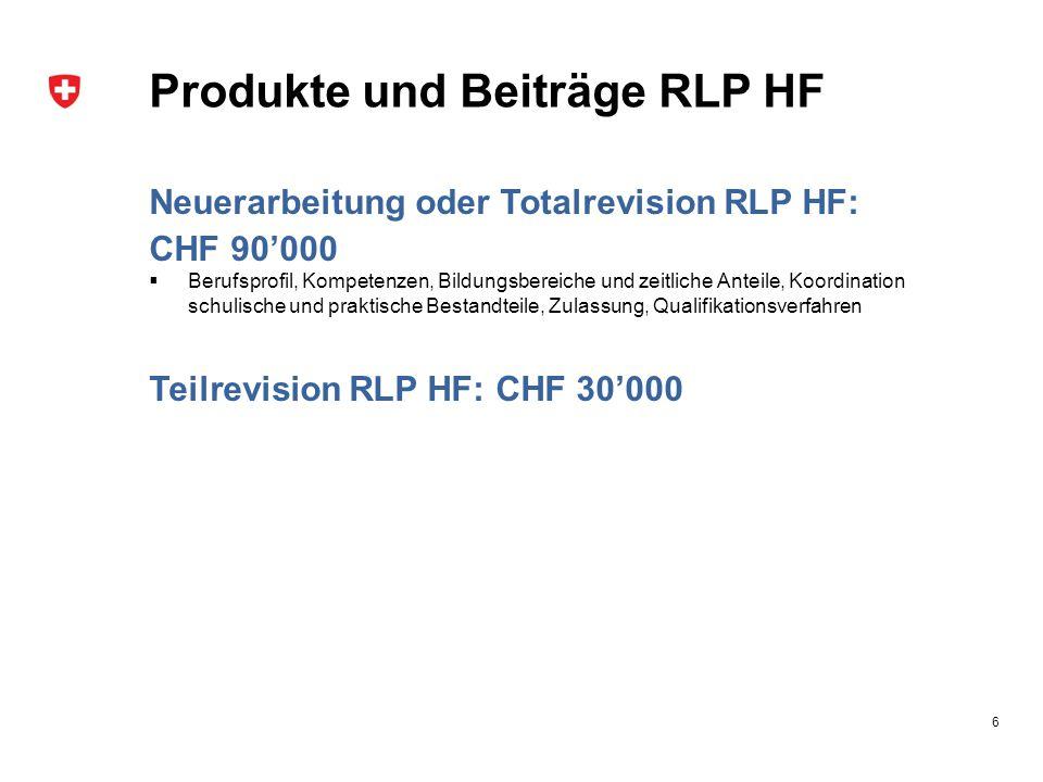 Produkte und Beiträge RLP HF Neuerarbeitung oder Totalrevision RLP HF: CHF 90'000  Berufsprofil, Kompetenzen, Bildungsbereiche und zeitliche Anteile,