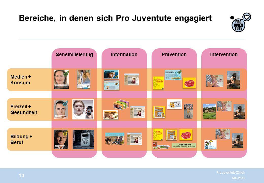 Bereiche, in denen sich Pro Juventute engagiert Mai 2015 Pro Juventute Zürich 13 Information Sensibilisierung Prävention Intervention Medien + Konsum Freizeit + Gesundheit Bildung + Beruf