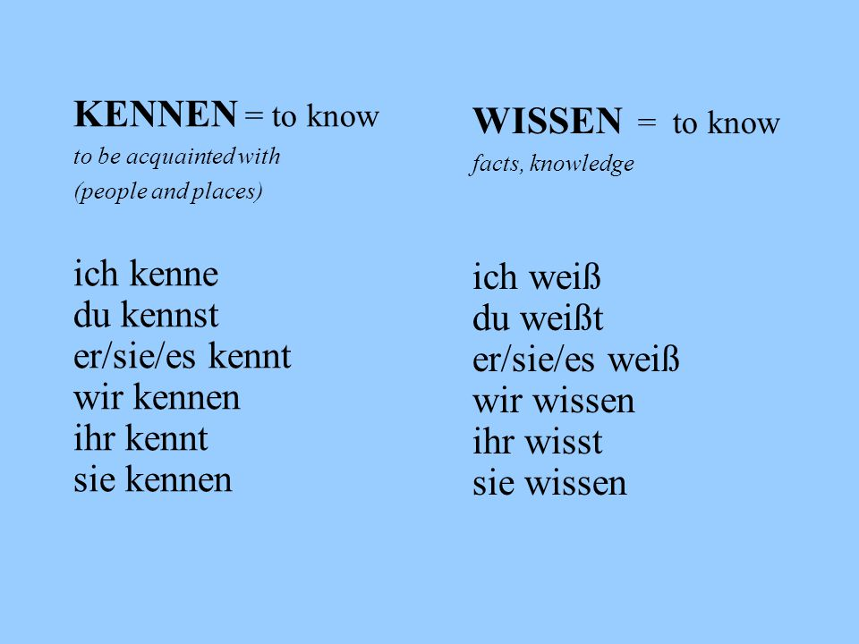 KENNEN = to know to be acquainted with (people and places) ich kenne du kennst er/sie/es kennt wir kennen ihr kennt sie kennen WISSEN = to know facts,