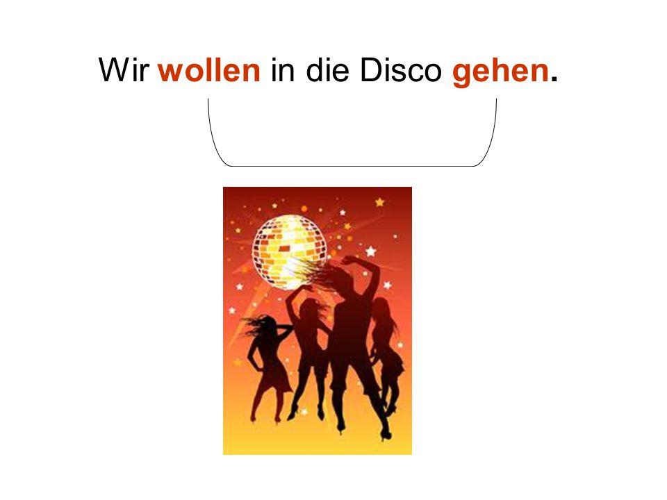 Wir wollen in die Disco gehen.