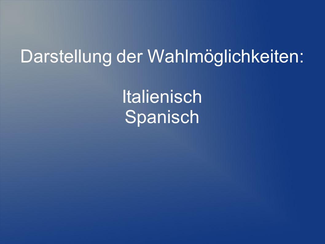 Darstellung der Wahlmöglichkeiten: Italienisch Spanisch