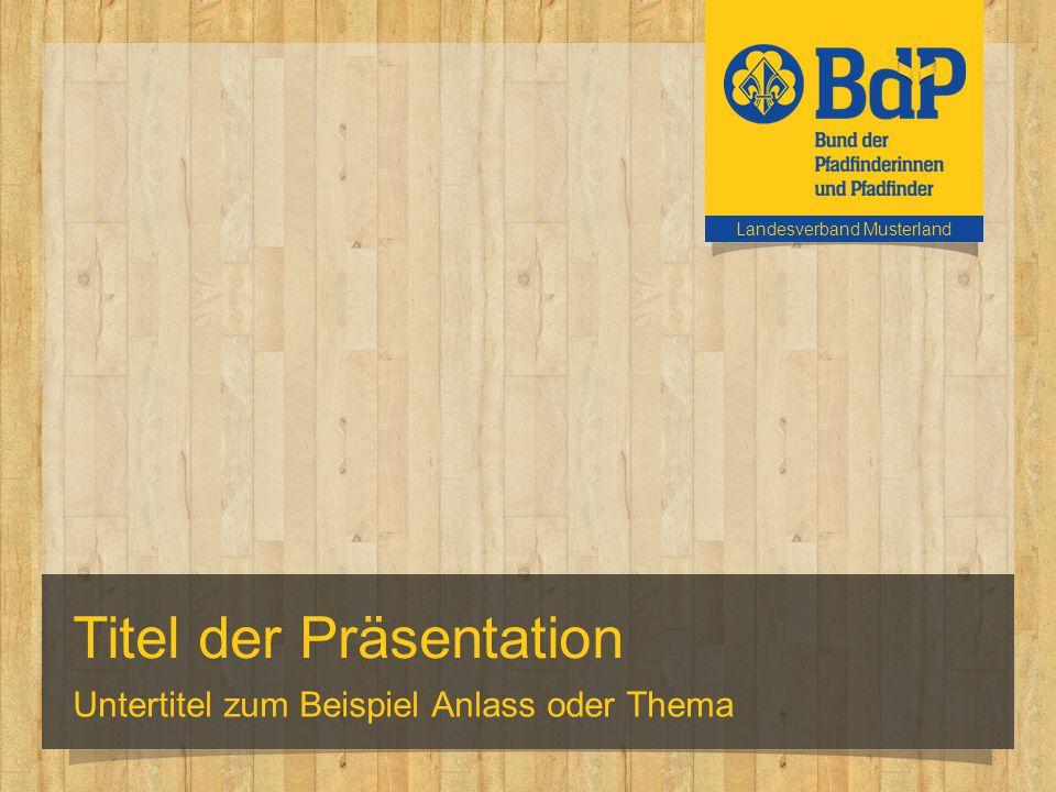 Titel der Präsentation Untertitel zum Beispiel Anlass oder Thema Landesverband Musterland