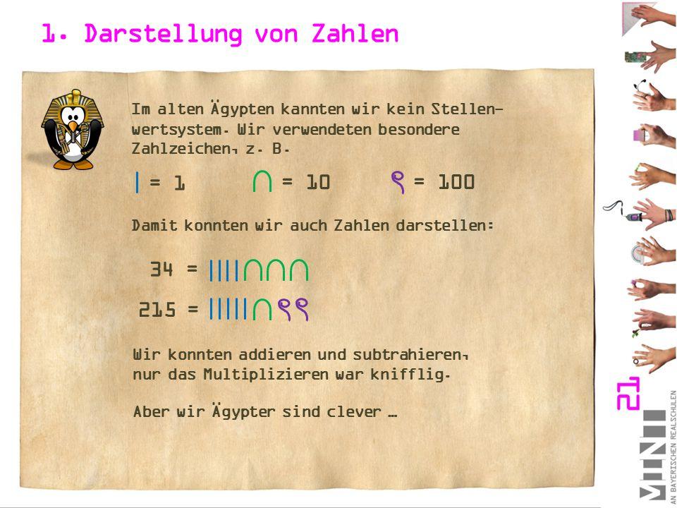 1. Darstellung von Zahlen Im alten Ägypten kannten wir kein Stellen- wertsystem. Wir verwendeten besondere Zahlzeichen, z. B. = 1 = 100 Damit konnten