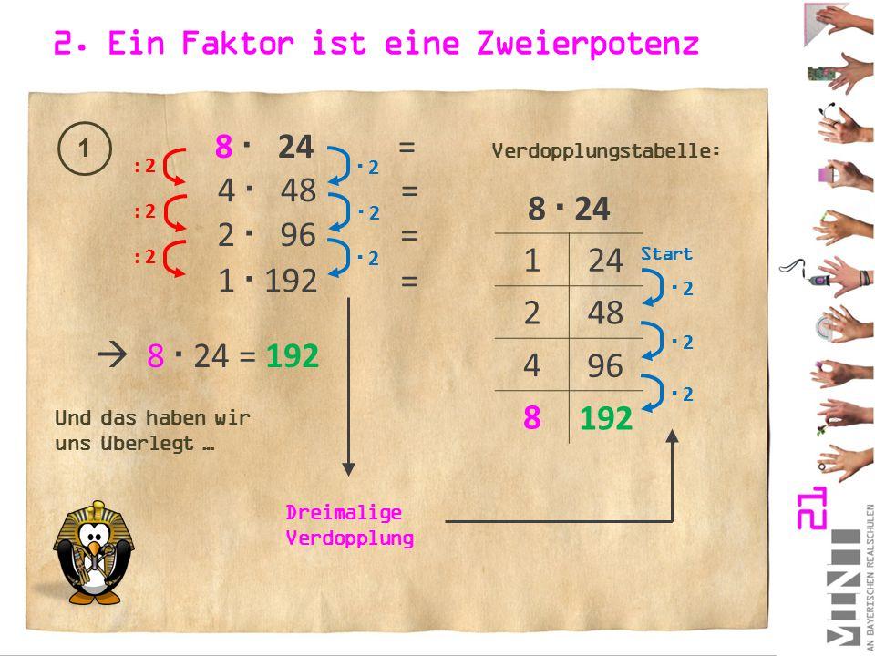 2. Ein Faktor ist eine Zweierpotenz 1 8  24 = : 2  2 2 4  48 = : 2  2 2 2  96 = : 2  2 2 1  192 = 8  24 1 2 4 8 24 48 96 192  2 2  2 2