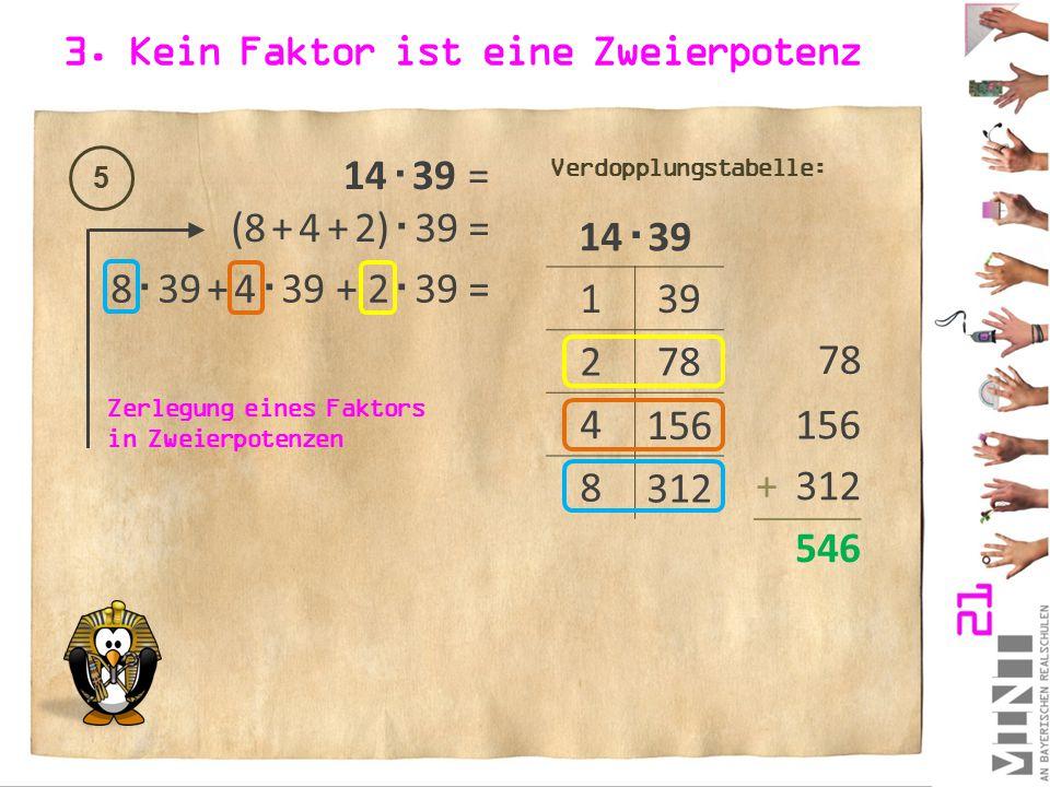 3. Kein Faktor ist eine Zweierpotenz 5 14  39 = 14  39 1 2 4 8 39 78 156 312 Verdopplungstabelle: (8 + 4 + 2)  39 = 8  39 + 4  39 + 2  39 = Zerl