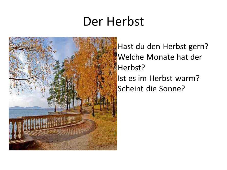 Der Herbst Hast du den Herbst gern? Welche Monate hat der Herbst? Ist es im Herbst warm? Scheint die Sonne?