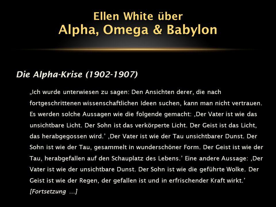"""Die Alpha-Krise (1902-1907) """"Ich wurde unterwiesen zu sagen: Den Ansichten derer, die nach fortgeschrittenen wissenschaftlichen Ideen suchen, kann man"""