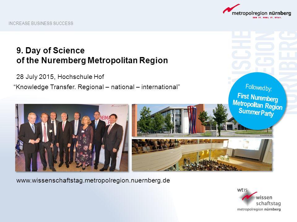 INCREASE BUSINESS SUCCESS www.wissenschaftstag.metropolregion.nuernberg.de 9. Day of Science of the Nuremberg Metropolitan Region 28 July 2015, Hochsc