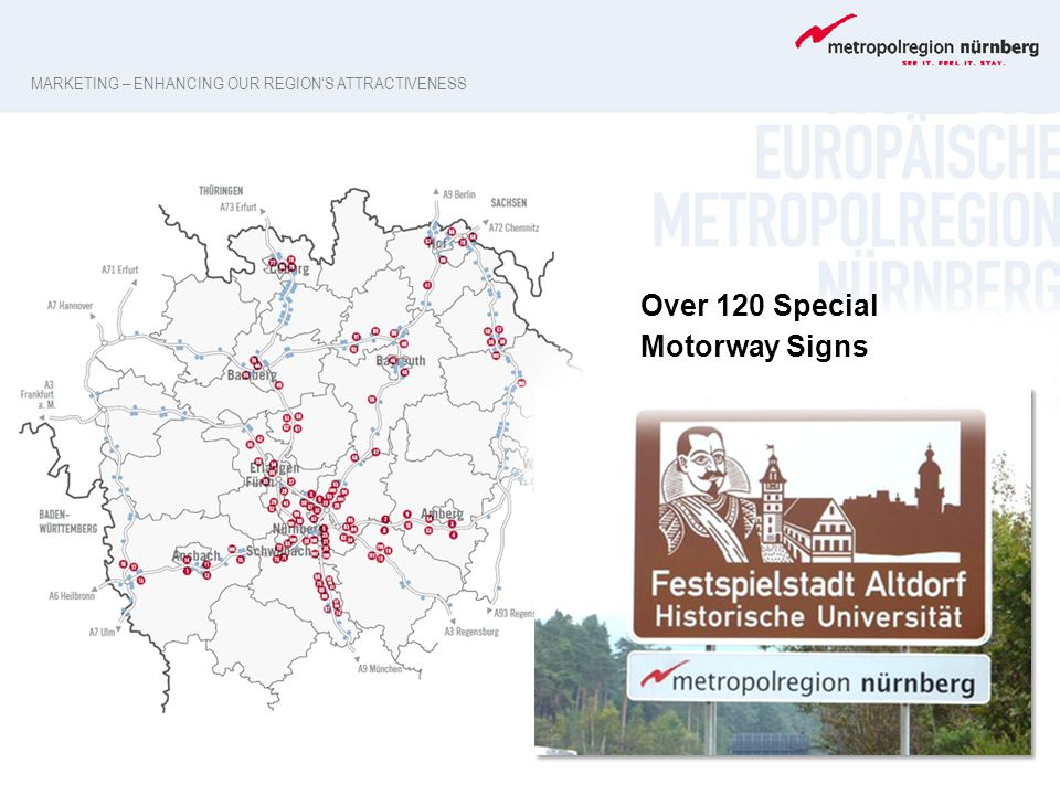 Over 120 Special Motorway Signs MARKETING – ENHANCING OUR REGION'S ATTRACTIVENESS