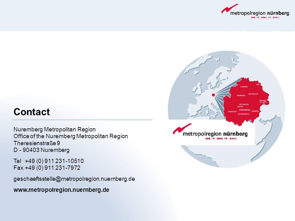 Contact Nuremberg Metropolitan Region Office of the Nuremberg Metropolitan Region Theresienstraße 9 D - 90403 Nuremberg Tel+49 (0) 911 231-10510 Fax+4