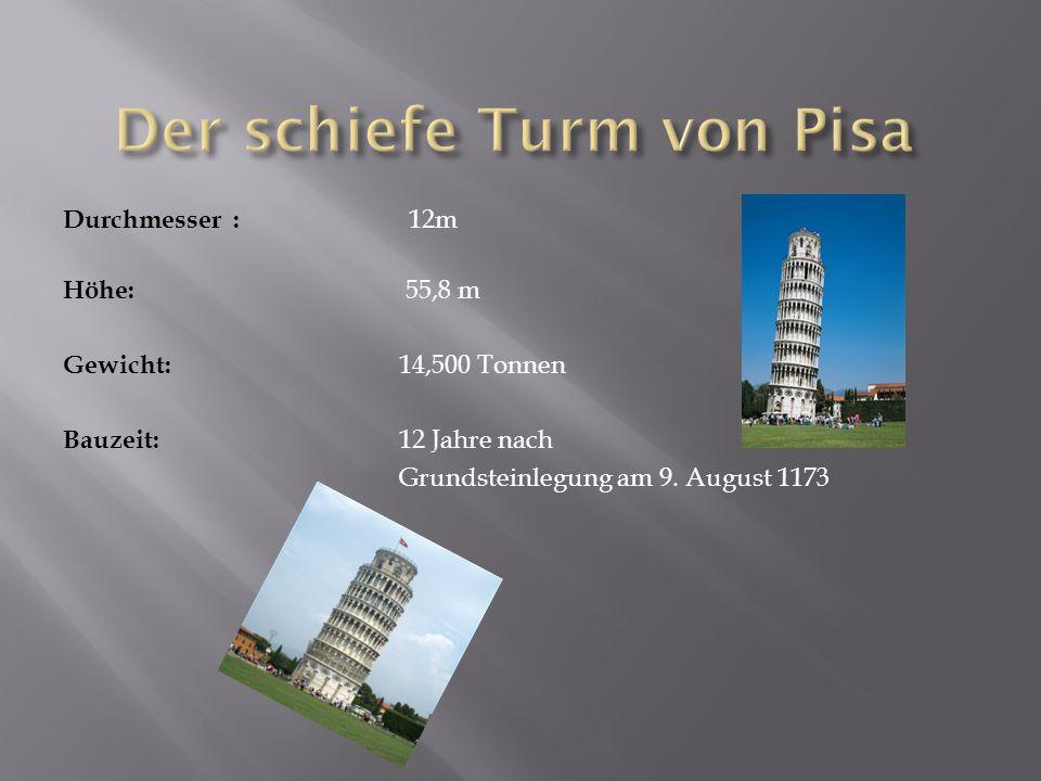 Durchmesser : 12m Höhe: 55,8 m Gewicht: 14,500 Tonnen Bauzeit: 12 Jahre nach Grundsteinlegung am 9.