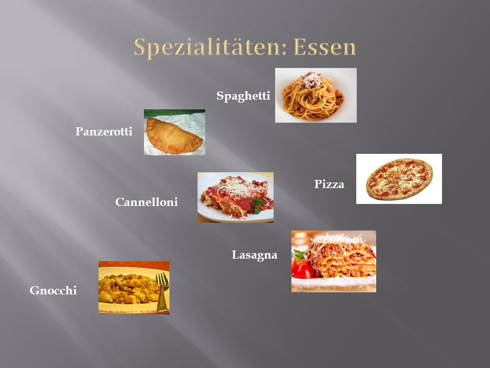 Spaghetti Panzerotti Pizza Cannelloni Lasagna Gnocchi