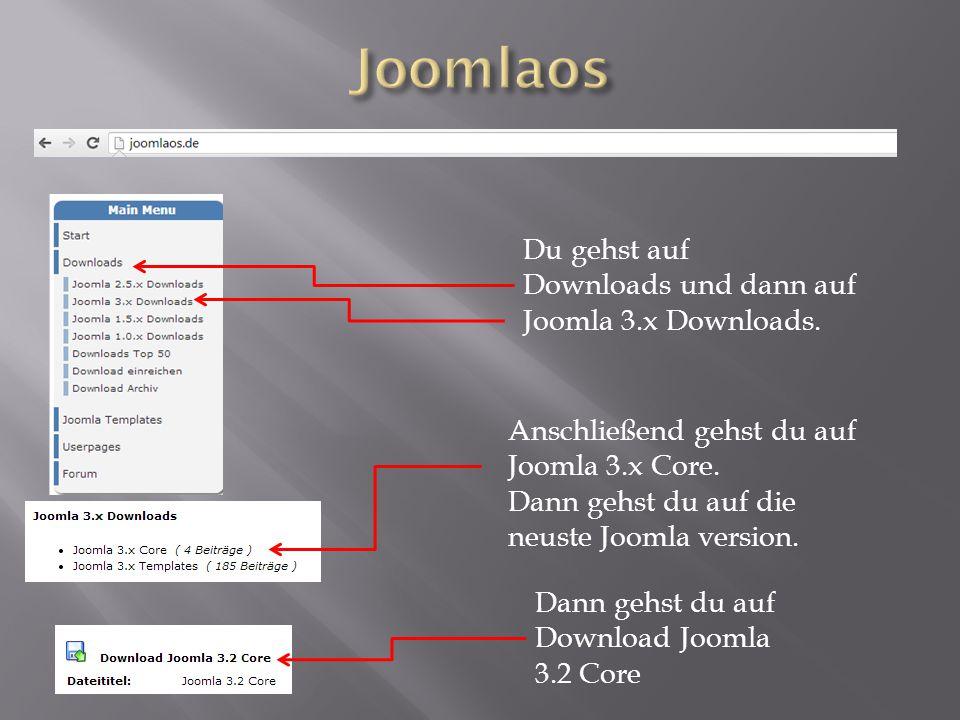 Du gehst auf Downloads und dann auf Joomla 3.x Downloads. Anschließend gehst du auf Joomla 3.x Core. Dann gehst du auf die neuste Joomla version. Dann