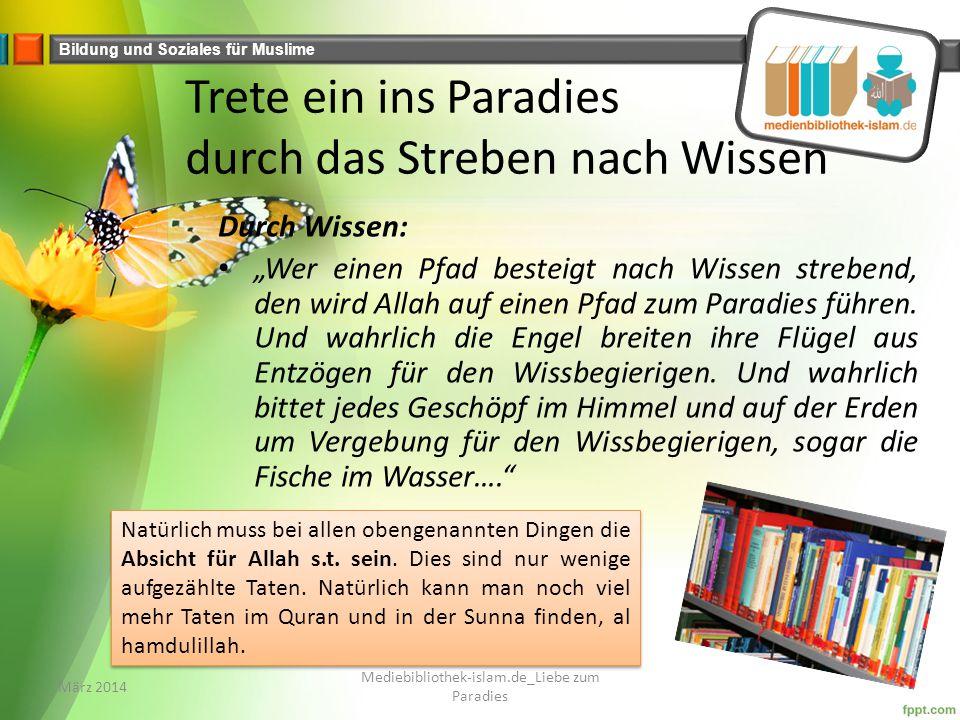 """Bildung und Soziales für Muslime Trete ein ins Paradies durch das Streben nach Wissen Durch Wissen: """"Wer einen Pfad besteigt nach Wissen strebend, den wird Allah auf einen Pfad zum Paradies führen."""