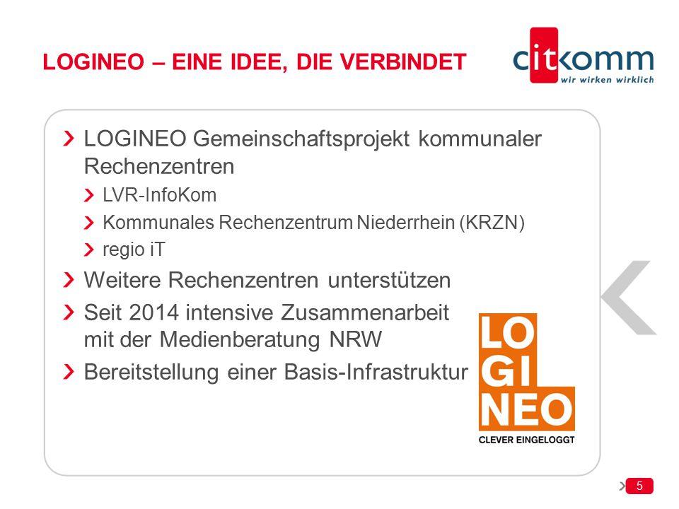5 LOGINEO – EINE IDEE, DIE VERBINDET LOGINEO Gemeinschaftsprojekt kommunaler Rechenzentren LVR-InfoKom Kommunales Rechenzentrum Niederrhein (KRZN) reg