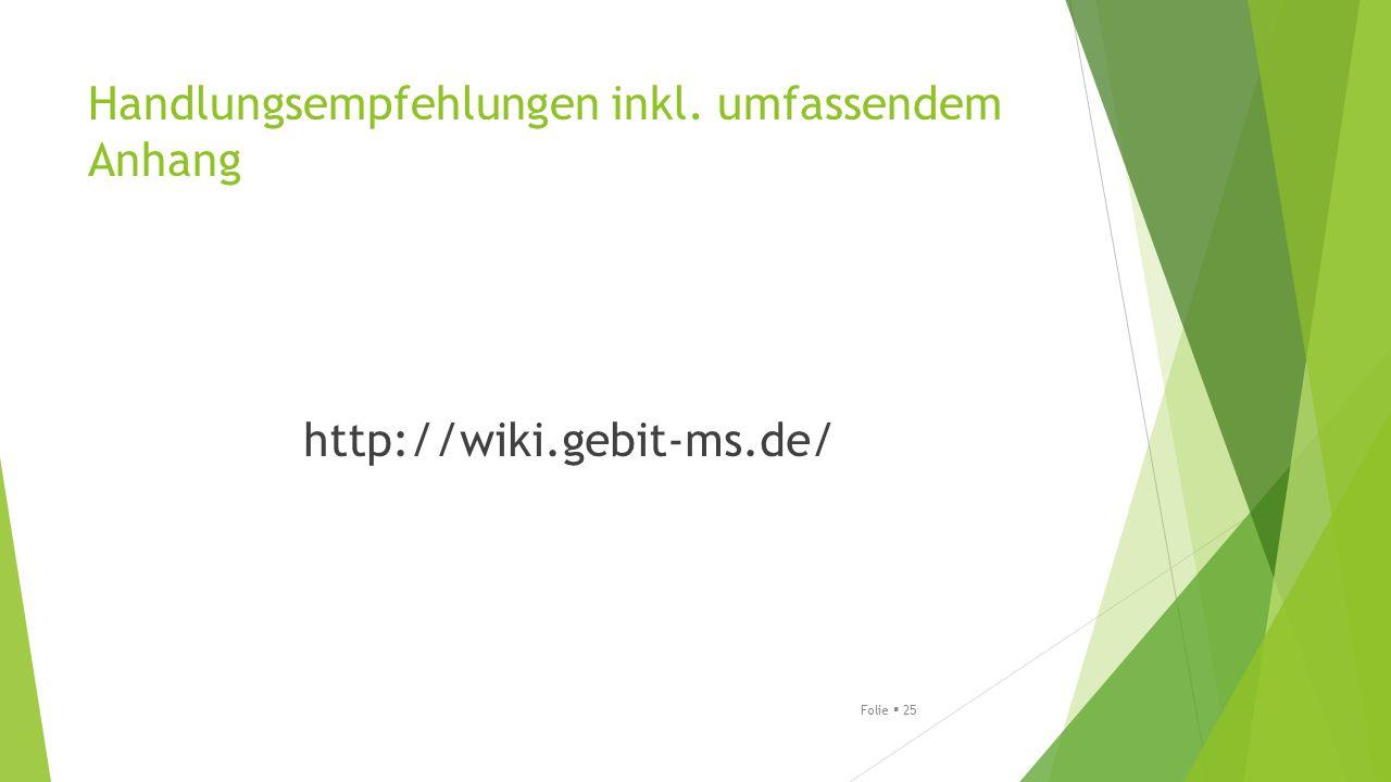 Handlungsempfehlungen inkl. umfassendem Anhang http://wiki.gebit-ms.de/ Folie  25