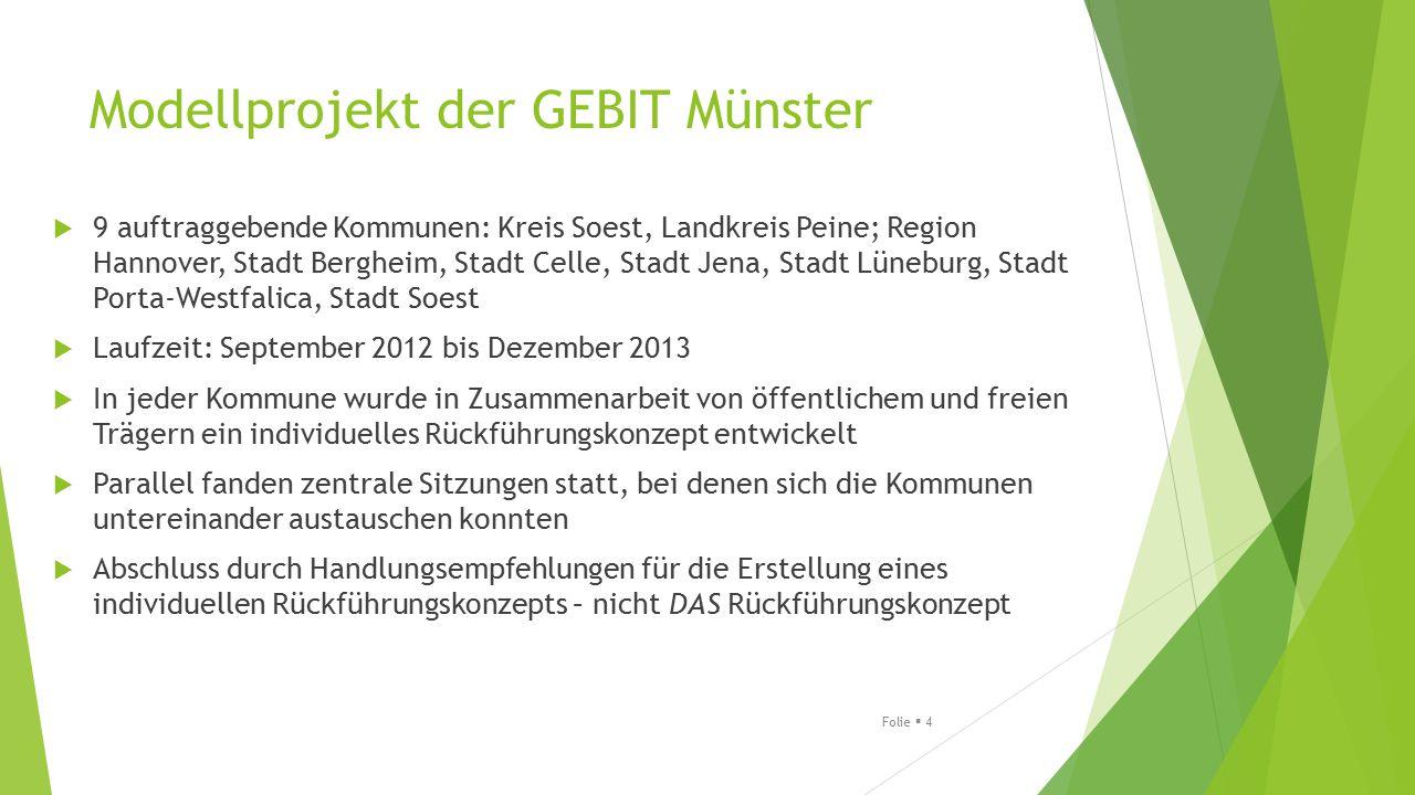 Modellprojekt der GEBIT Münster  9 auftraggebende Kommunen: Kreis Soest, Landkreis Peine; Region Hannover, Stadt Bergheim, Stadt Celle, Stadt Jena, S
