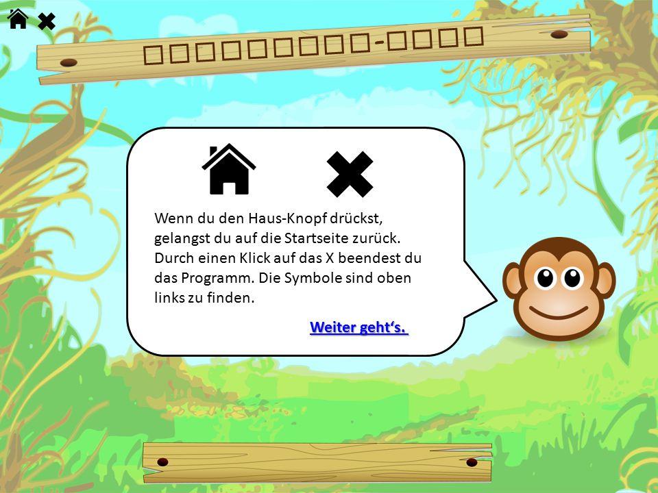 Wenn du den Haus-Knopf drückst, gelangst du auf die Startseite zurück. Durch einen Klick auf das X beendest du das Programm. Die Symbole sind oben lin