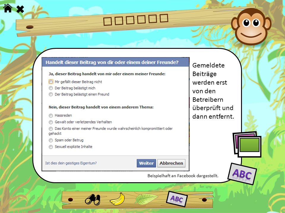 RECHTE Gemeldete Beiträge werden erst von den Betreibern überprüft und dann entfernt. Beispielhaft an Facebook dargestellt.