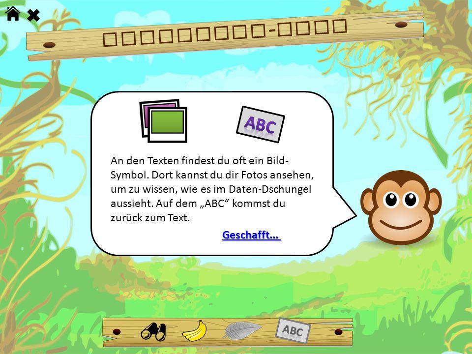 Dschungel - Tour An den Texten findest du oft ein Bild- Symbol. Dort kannst du dir Fotos ansehen, um zu wissen, wie es im Daten-Dschungel aussieht. Au