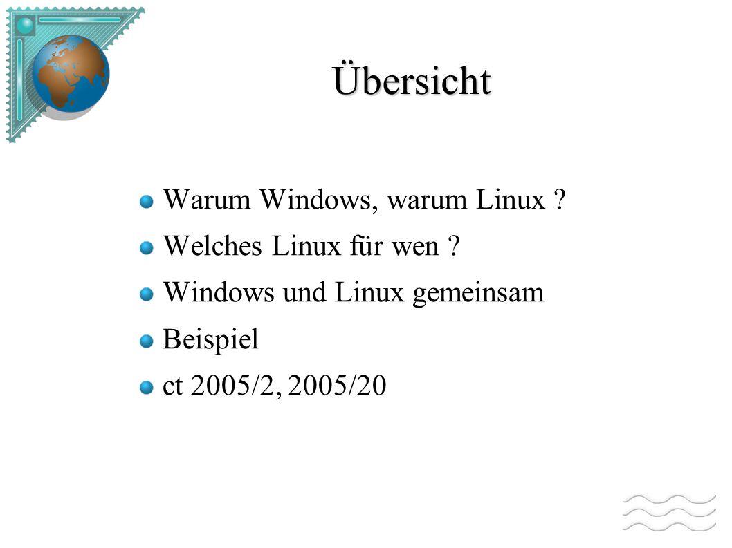 Gegenüberstellung Die meisten Anwendungen gibt unter Linux Für Linux fehlen Multimediaanwendungen, Treiber für spezielle Hardware Windows Server ist teuer Embedded Linux
