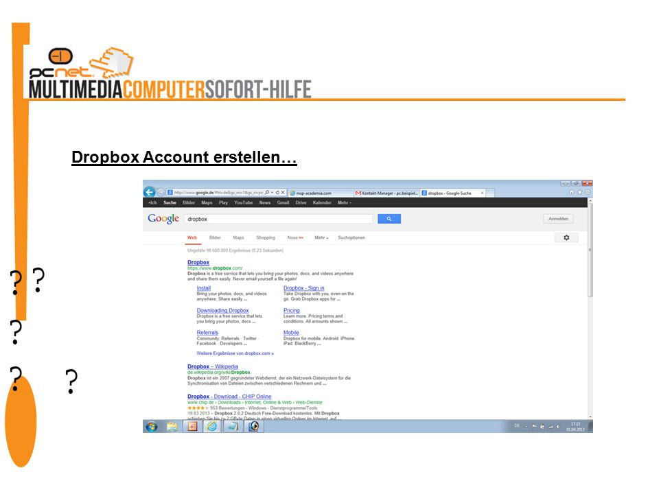 Dropbox Account erstellen…