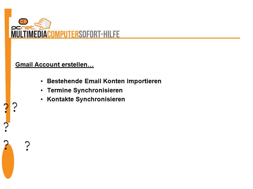 Bestehende Email Konten importieren Termine Synchronisieren Kontakte Synchronisieren