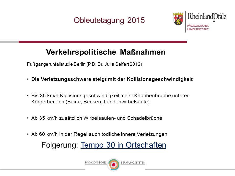 Obleutetagung 2015 Verkehrspolitische Maßnahmen Folgerung: Tempo 30 in OrtschaftenTempo 30 in Ortschaften Fußgängerunfallstudie Berlin (P.D.