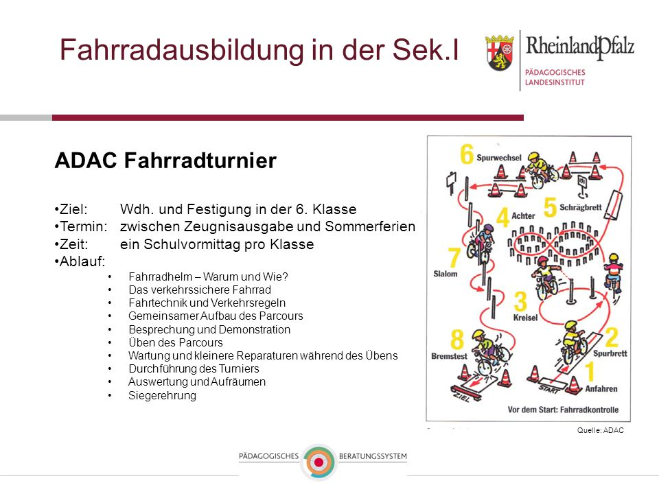 Fahrradausbildung in der Sek.I ADAC Fahrradturnier Ziel: Wdh. und Festigung in der 6. Klasse Termin: zwischen Zeugnisausgabe und Sommerferien Zeit: ei