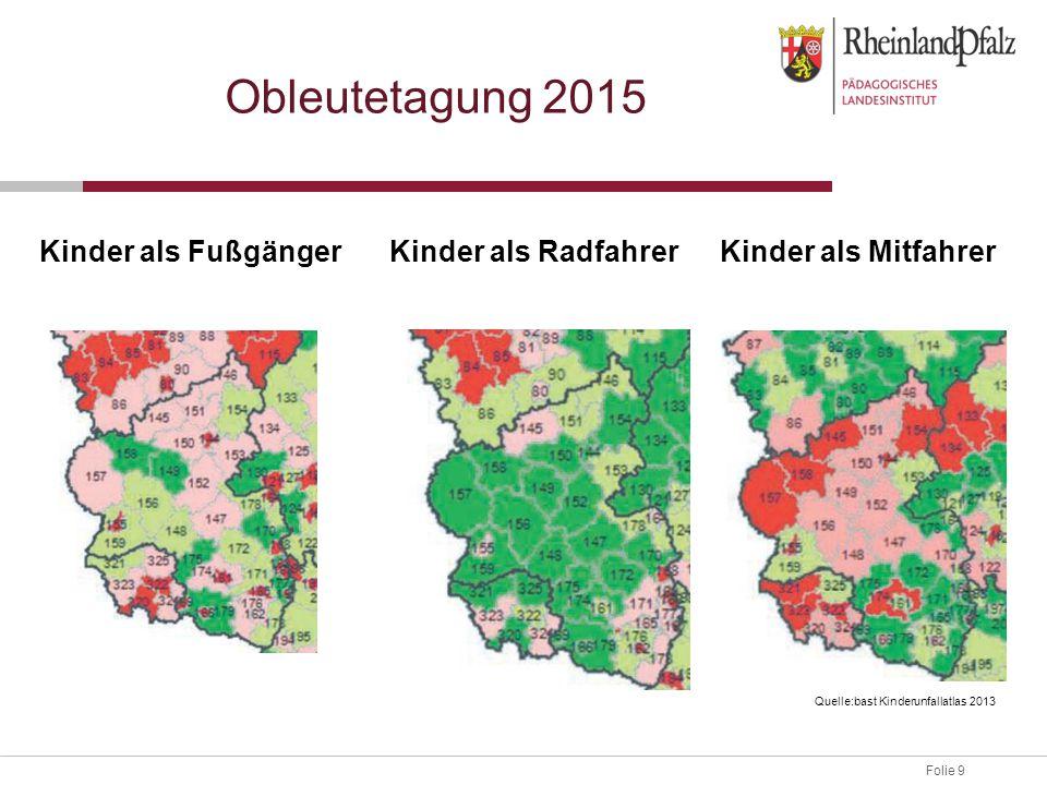 Folie 9 Obleutetagung 2015 Kinder als FußgängerKinder als RadfahrerKinder als Mitfahrer Quelle:bast Kinderunfallatlas 2013