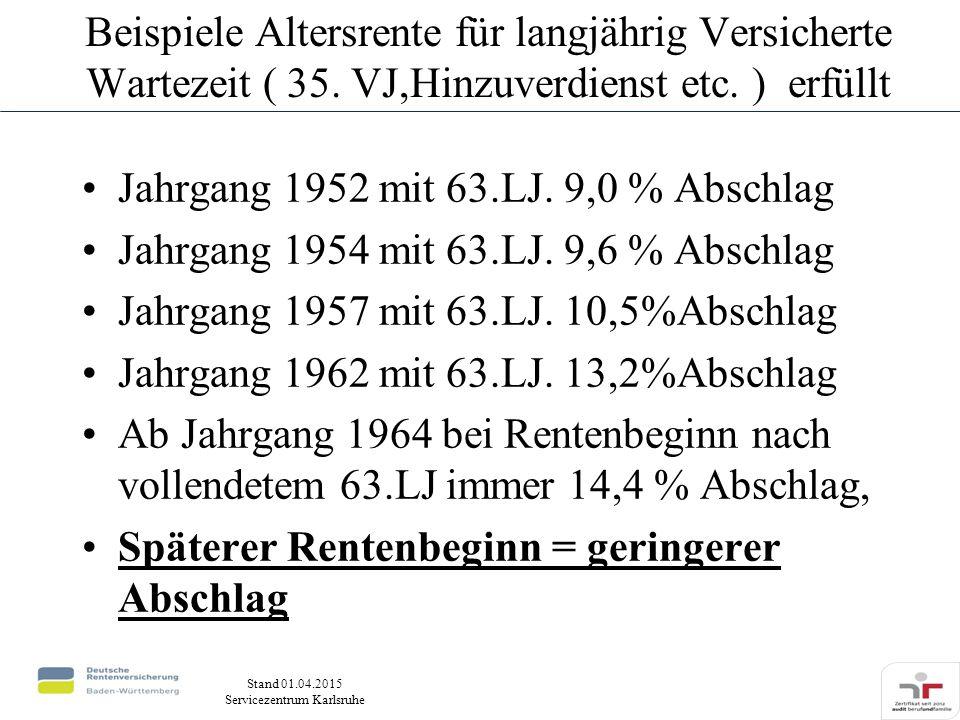 Stand 01.04.2015 Servicezentrum Karlsruhe Beispiele Altersrente für langjährig Versicherte Wartezeit ( 35.