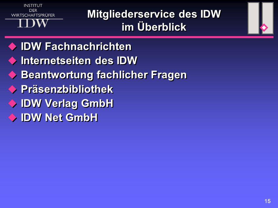 15 Mitgliederservice des IDW im Überblick  IDW Fachnachrichten  Internetseiten des IDW  Beantwortung fachlicher Fragen  Präsenzbibliothek  IDW Ve