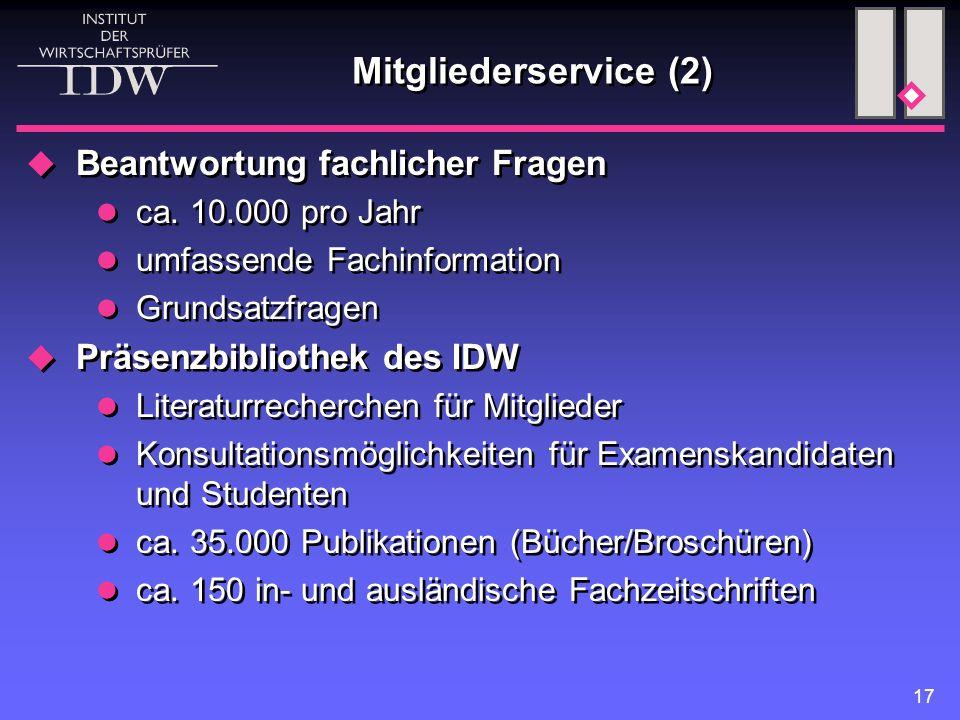 17 Mitgliederservice (2)  Beantwortung fachlicher Fragen ca. 10.000 pro Jahr umfassende Fachinformation Grundsatzfragen  Präsenzbibliothek des IDW L