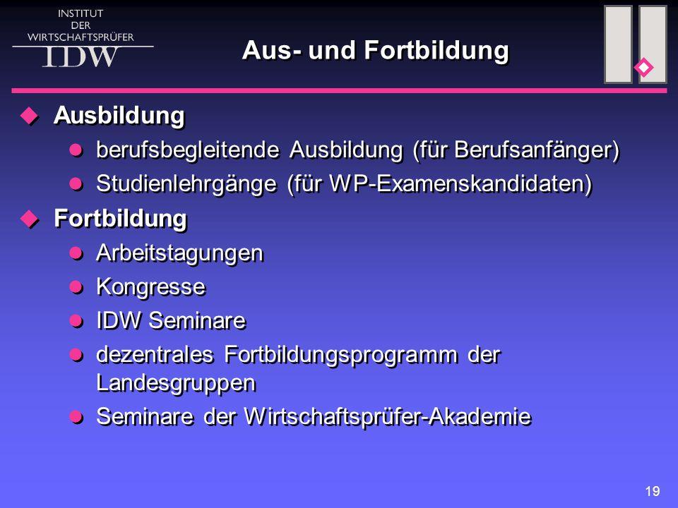 19 Aus- und Fortbildung  Ausbildung berufsbegleitende Ausbildung (für Berufsanfänger) Studienlehrgänge (für WP-Examenskandidaten)  Fortbildung Arbei