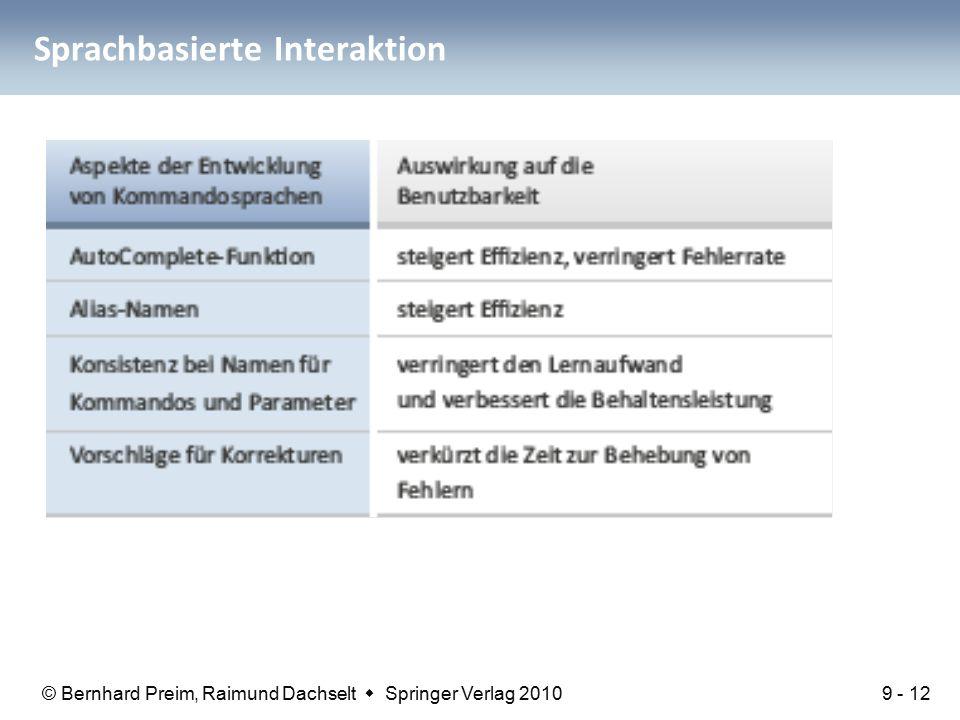 © Bernhard Preim, Raimund Dachselt  Springer Verlag 2010 Sprachbasierte Interaktion 9 - 12