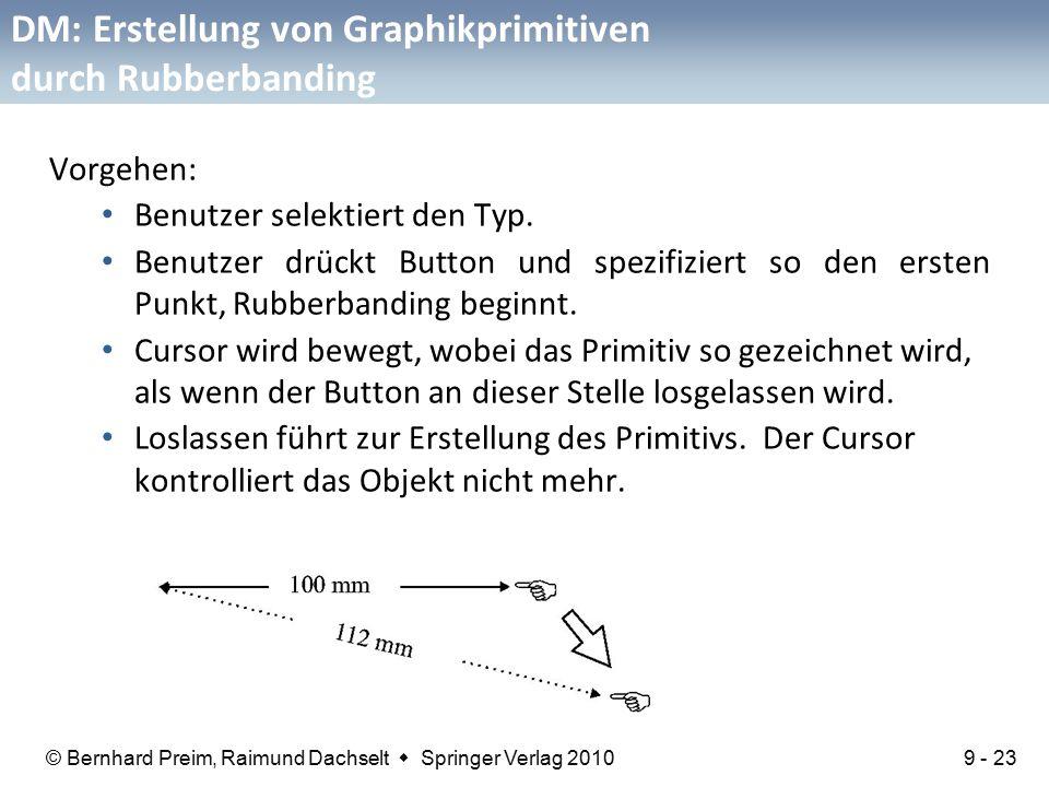 © Bernhard Preim, Raimund Dachselt  Springer Verlag 2010 DM: Erstellung von Graphikprimitiven durch Rubberbanding Vorgehen: Benutzer selektiert den Typ.