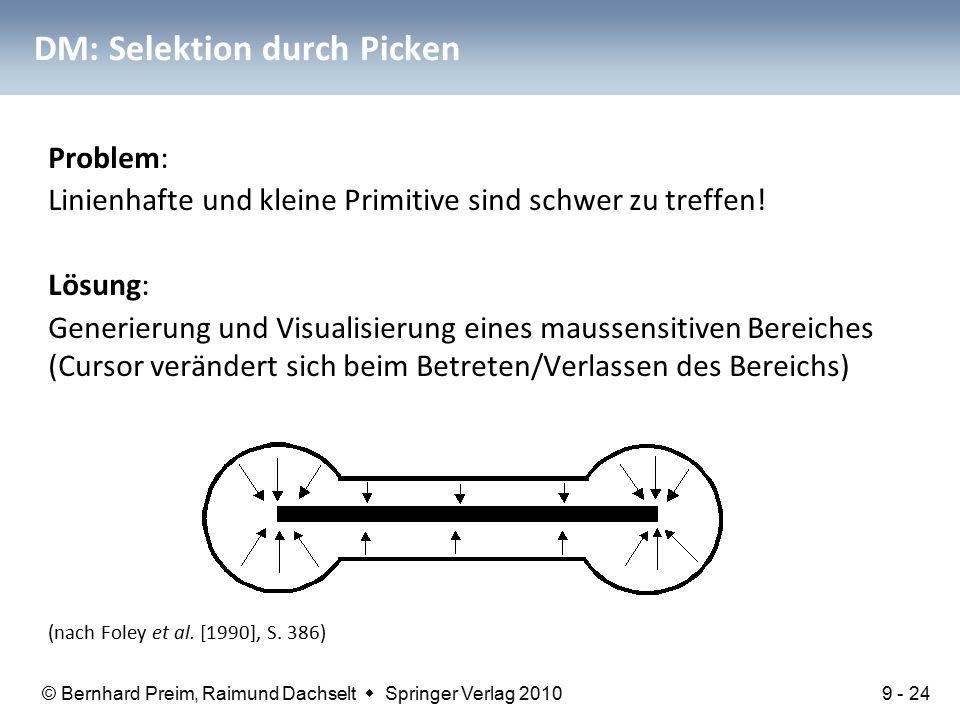 © Bernhard Preim, Raimund Dachselt  Springer Verlag 2010 DM: Selektion durch Picken Problem: Linienhafte und kleine Primitive sind schwer zu treffen.