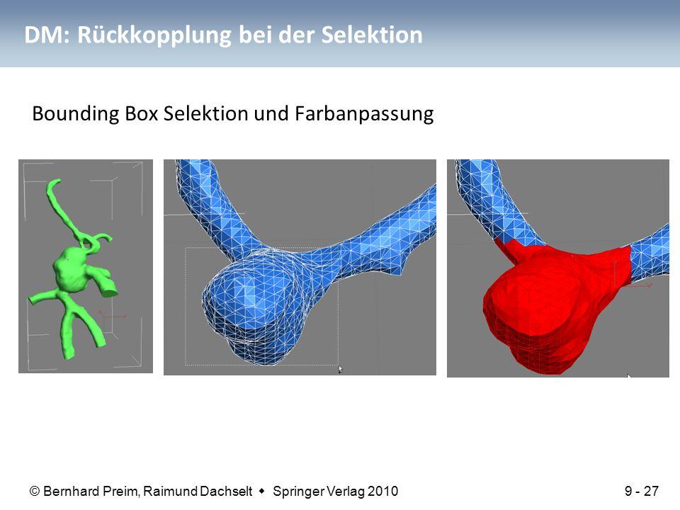 © Bernhard Preim, Raimund Dachselt  Springer Verlag 2010 DM: Rückkopplung bei der Selektion Bounding Box Selektion und Farbanpassung 9 - 27