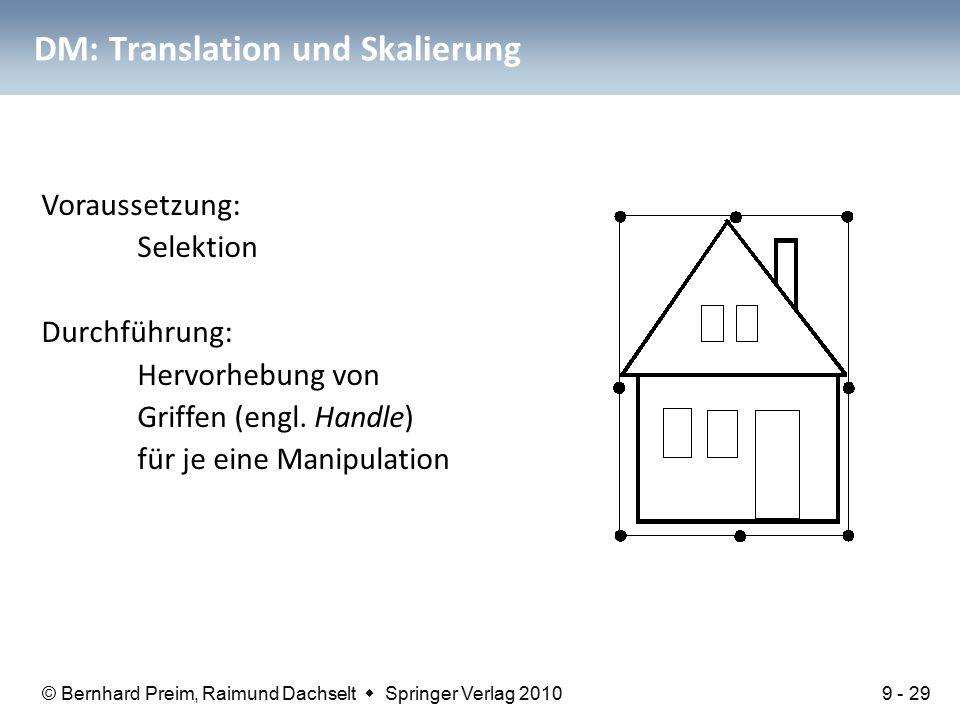 © Bernhard Preim, Raimund Dachselt  Springer Verlag 2010 DM: Translation und Skalierung Voraussetzung: Selektion Durchführung: Hervorhebung von Griffen (engl.