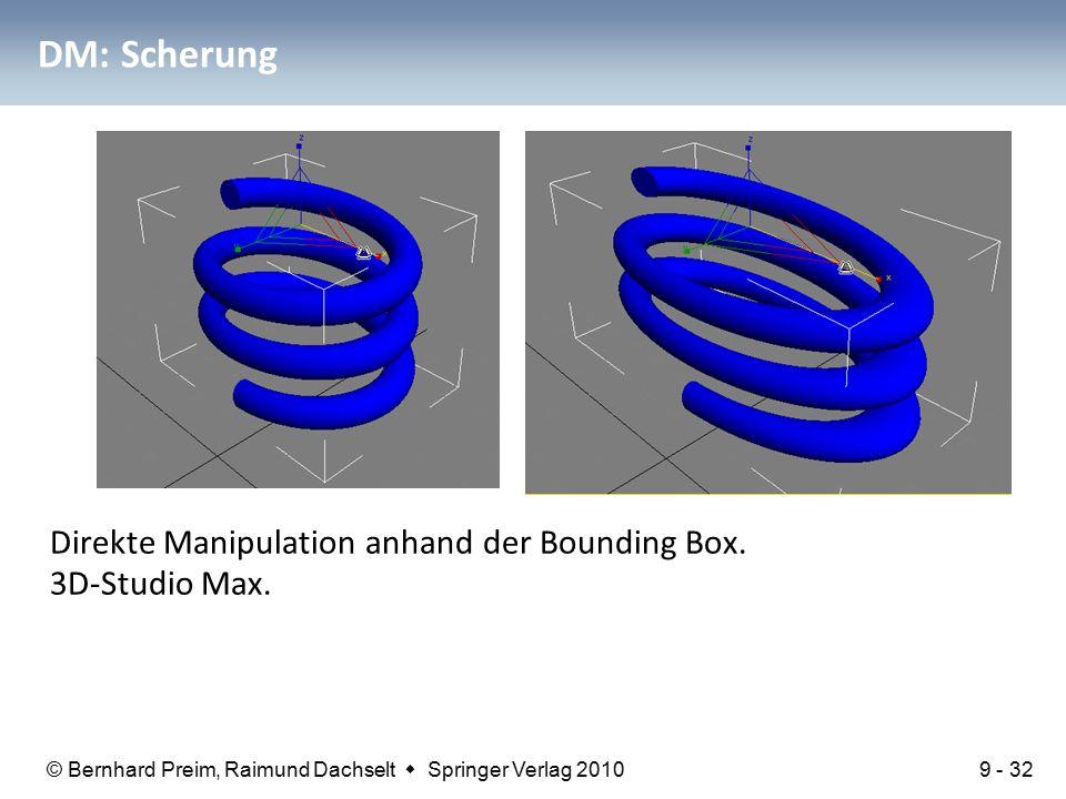 © Bernhard Preim, Raimund Dachselt  Springer Verlag 2010 DM: Scherung Direkte Manipulation anhand der Bounding Box.