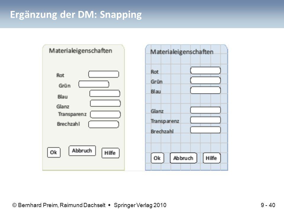 © Bernhard Preim, Raimund Dachselt  Springer Verlag 2010 Ergänzung der DM: Snapping 9 - 40