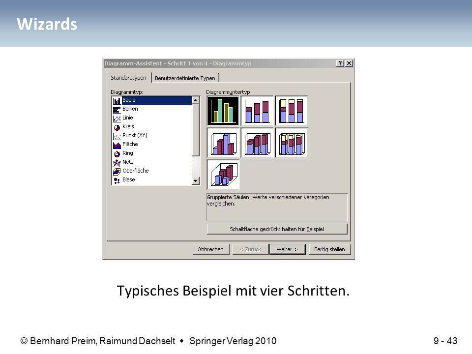 © Bernhard Preim, Raimund Dachselt  Springer Verlag 2010 Wizards Typisches Beispiel mit vier Schritten.