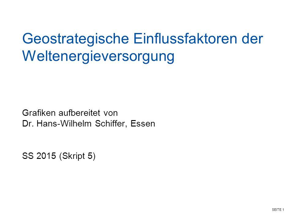 SEITE 1 Geostrategische Einflussfaktoren der Weltenergieversorgung Grafiken aufbereitet von Dr. Hans-Wilhelm Schiffer, Essen SS 2015 (Skript 5)
