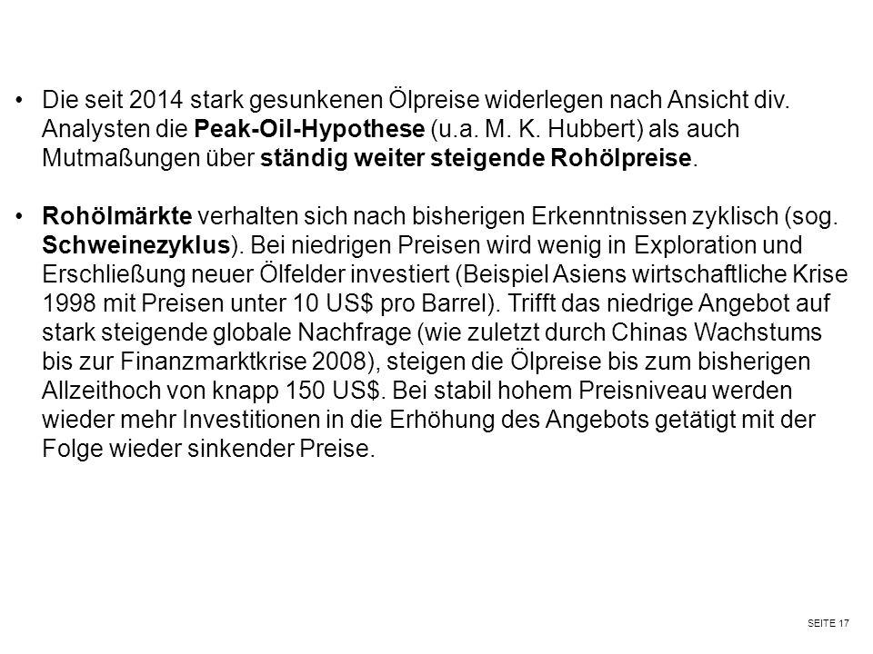 SEITE 17 Die seit 2014 stark gesunkenen Ölpreise widerlegen nach Ansicht div. Analysten die Peak-Oil-Hypothese (u.a. M. K. Hubbert) als auch Mutmaßung