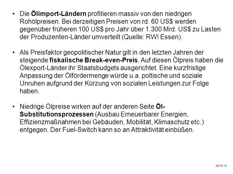 SEITE 19 Die Ölimport-Ländern profitieren massiv von den niedrigen Rohölpreisen. Bei derzeitigen Preisen von rd. 60 US$ werden gegenüber früheren 100