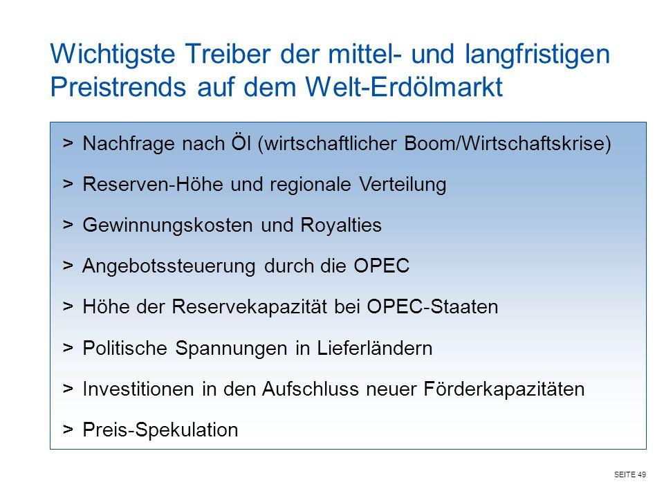 SEITE 49 Wichtigste Treiber der mittel- und langfristigen Preistrends auf dem Welt-Erdölmarkt >Nachfrage nach Öl (wirtschaftlicher Boom/Wirtschaftskri
