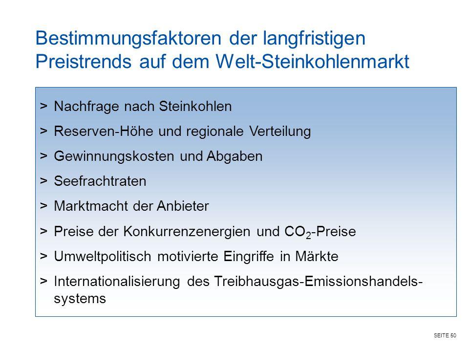 SEITE 50 Bestimmungsfaktoren der langfristigen Preistrends auf dem Welt-Steinkohlenmarkt >Nachfrage nach Steinkohlen >Reserven-Höhe und regionale Vert